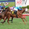 Even-money choice Baffle Me scored her third consecutive stakes triumph with a half-length tally in the $100,000 South Beach Stakes on the turf at Gulfstream Park in Florida. <br /> Coglianese Photo