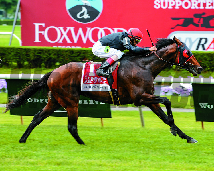 Point of Entry wins the Woodford Reserve Manhattan Handicap (gr. 1)<br /> Jockey: John Velazquez<br /> BELMONT PARK, Elmont, NY<br /> Purse: $500,000<br /> Date: June 8, 2013<br /> Class: Grade 1<br /> TV: NBC<br /> Age: 3 yo's & up<br /> Race: 10<br /> Distance: One And One Fourth Miles<br /> Post Time: 5:40 PM