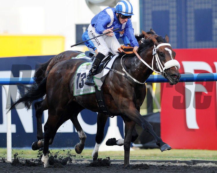 Soft Falling Rain, Paul Hanagan up, wins the Godolphin Mile, Meydan, Dubai World Cup Day<br /> March 30, 2013, photo by Mathea Kelley