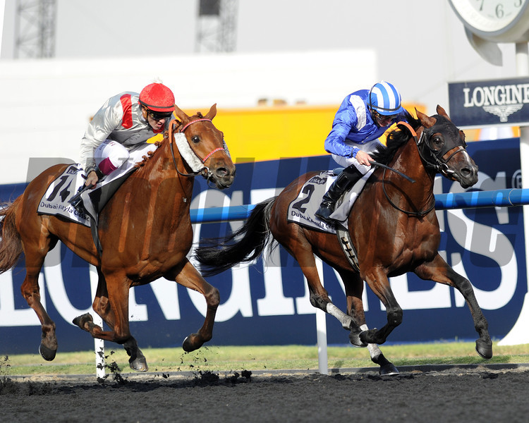 Al Manun Monlau,  Christoph Soulmillion up wins the Dubai Kahaya Classic, Meydan, March 30th, 2013, photo by Mathea Kelley<br /> Dubai World Cup Day