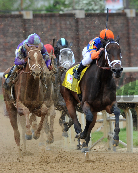 Princess of Sylmar, Mike Smith up (purple and blue silks) wins the 2013 Kentucky Oaks, 2013 Churchill Downs, Louisville, KY<br /> ©Photo by Mathea Kelley