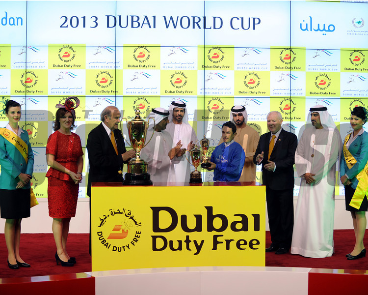 Connections of Sajjhaa at the Dubai Duty Free trophy presentation.<br /> Photo by Dave Harmon