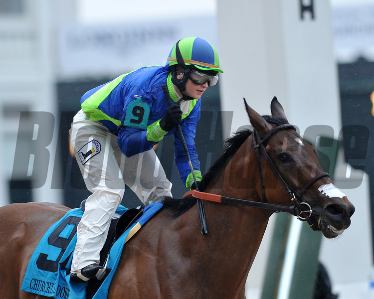 Delaunay, Rosie Napravnick up, wins the Churchil Downs Stakes, 2013 Churchill Downs, Louisville, KY photo by Mathea Kelley