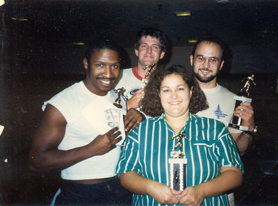 1985,Keith, Steve, Cindy and Larry. 2nd Place Bowling Team, Gandalf Data Gandalf Data