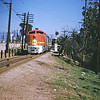 Santa Fe 90 running along Marmion Way in Highland Park inbound to Los Angeles circa 1954. Photographer Unknown.<br /> <br /> Jeffrey Moreau Collection