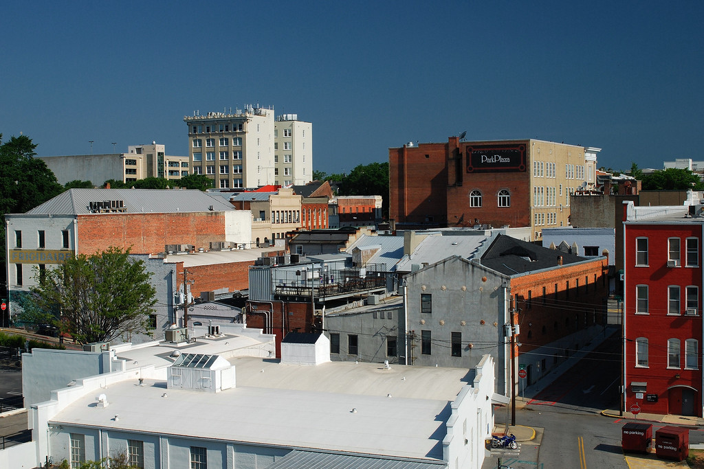 View of Athens, GA, looking north from the North Campus Parking Deck. May 2008