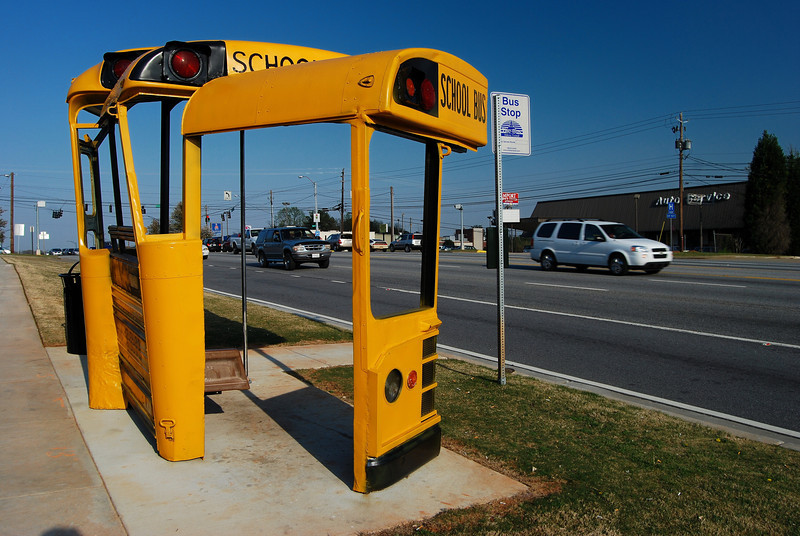 One of many new interesting bus stop shelters in Athens, GA (Clarke County) 2008