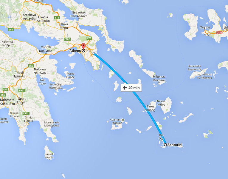 Athens is a short, 40 minute flight from Santorini.  There is also an overnight ferry between the two islands.