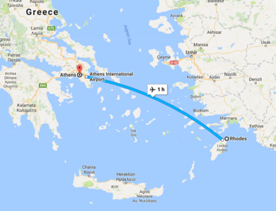 Athens is a short 1 hour flight from Rhodes.