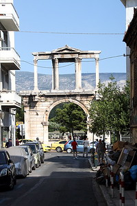 Hadrian's Arch (or Gate) is a monumental gateway resembling in some respects a Roman triumphal arch.  It has been proposed that the arch was built to celebrate the adventus (arrival) of the Roman Emperor Hadrian and to honor him for his many benefactions to the city, on the occasion of the dedication of the nearby temple complex in 131 or 132 AD.