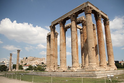 Temple of Olympian Zeus, with the Acropolis behind it.