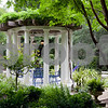 Several paths lead to the gazebo, an intimate gathering place on the grounds.