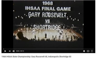 The fifty-eighth annual high school basketball championship was won by Gary Roosevelt High School. It was the first state basketball championship for Gary Roosevelt.  The championship game between Gary Roosevelt and Indianapolis Shortridge was touch and go through more than three quarters. It was only in the last minute and one-half of the game that the Panthers broke it open and won 68-60. Shortridge led 15-11 at the first quarter stop, but at the mid-way point the score was all tied up at 32 all. By the third stop the Panthers had worked to a 47-44 hard-earned lead, and did not break away until the final minute of the hard fought contest. Great outside shooting by Aaron Smith in the early going kept the Panthers in the running. The final story was told by the great defensive board work done by Smith, McFerson and Nelson.  In the first afternoon game, Gary Roosevelt defeated Vincennes Lincoln 65 -48. The Panthers led through most of the game although the Alices several times really challenged the winners. The score at the end of the fir st quarter found Gary Roosevelt leading 15-11. The low scoring first half found Gary Roosevelt ahead 24-22. At the third stop they led 43-35 and widened the gap in the final quarter to a 65-48 score.  The second afternoon game saw one of the most spectacular finishes witnessed in the state tournament for several years. With the score tied at 56 all, and one second showing on the clock, Oscar Evans of Indianapolis Shortridge let go with a long side jump shot that found its mark to defeat Marion High School 58-56. As it dropped through at the final buzzer, it killed a great comeback by the Marion Giants. Marion led 18-14 at the first quarter stop. Indianapolis Shortridge had edged ahead 24-23 at half-time. Shortridge led 38-33 at the third quarter stop and then led 58-56 by Evans' great shot at the end of the game.  The Board of Control unanimously selected James Nelson of Gary Roosevelt as the recipient of the Arthur L. Trester covet
