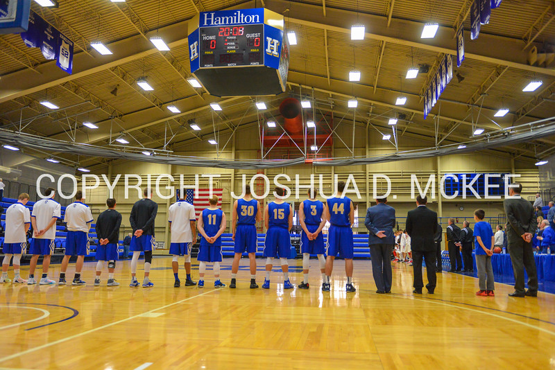 1/7/17 2:58:21 PM Hamilton College Men's Basketball v #9 Wesleyan College at Margaret Bundy Scott Field House, Hamilton College, Clinton, NY  Hamilton won 92-76.<br /> <br /> Photo by Josh McKee