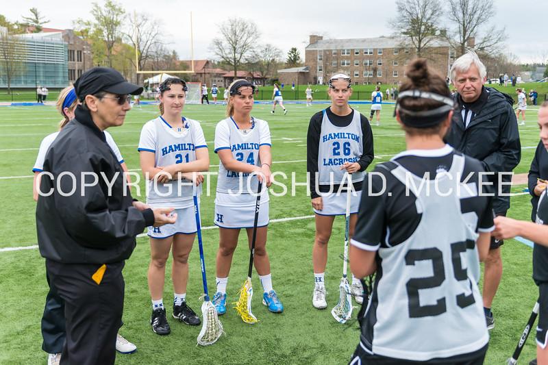 Captains, Coin Toss<br /> <br /> 4/29/17 11:50:51 AM NESCAC Women's Lacrosse Quarterfinal: #16 Bowdoin College @ #9 Hamilton College, at Steuben Field, Hamilton College, Clinton, NY<br /> <br /> Final: Hamilton 12   Bowdoin 9<br /> <br /> Photo by Josh McKee