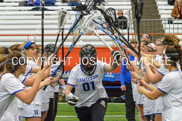 3/11/17 3:04:51 PM Hamilton College Women's Lacrosse v. Wesleyan University at the Carrier Dome, Syracuse University, Syracuse, NY<br /> <br /> Hamilton College GK Hannah Burrall (1)<br /> <br /> Final: Hamilton 7  Wesleyan 8<br /> <br /> Photo by Josh McKee
