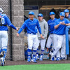 Hamilton College outfielder Jacob Han (38), Team, Celebration<br /> <br /> 4/13/18 3:21:25 PM Baseball: Wesleyan University vs Hamilton College at Loop Road Baseball/Softball Complex, Hamilton College, Clinton, NY<br /> <br /> Final: Wesleyan 2    Hamilton 3<br /> <br /> Photo by Josh McKee
