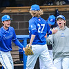 Hamilton College pitcher Brian Lawson (27), Team, Celebration<br /> <br /> 4/13/18 3:40:02 PM Baseball: Wesleyan University vs Hamilton College at Loop Road Baseball/Softball Complex, Hamilton College, Clinton, NY<br /> <br /> Final: Wesleyan 2    Hamilton 3<br /> <br /> Photo by Josh McKee
