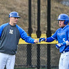 Hamilton College head coach Tim Byrnes, Hamilton College outfielder Rich Marooney (5)<br /> <br /> 4/13/18 4:48:51 PM Baseball: Wesleyan University vs Hamilton College at Loop Road Baseball/Softball Complex, Hamilton College, Clinton, NY<br /> <br /> Final: Wesleyan 2    Hamilton 3<br /> <br /> Photo by Josh McKee