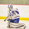 Hamilton College goaltender Anthony Tirabassi (34)<br /> <br /> 2/24/18 3:32:29 PM Men's Hockey: NESCAC Championship Quarterfinal-- Wesleyan University v Hamilton College at Russell Sage Rink, Hamilton College, Clinton, NY<br /> <br /> Final:  Wesleyan 2   Hamilton 1<br /> <br /> Photo by Josh McKee