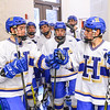 Hamilton College forward T.J. Daigler (20), Hamilton College forward Ian Nichols (23), Team<br /> <br /> 2/24/18 4:49:41 PM Men's Hockey: NESCAC Championship Quarterfinal-- Wesleyan University v Hamilton College at Russell Sage Rink, Hamilton College, Clinton, NY<br /> <br /> Final:  Wesleyan 2   Hamilton 1<br /> <br /> Photo by Josh McKee