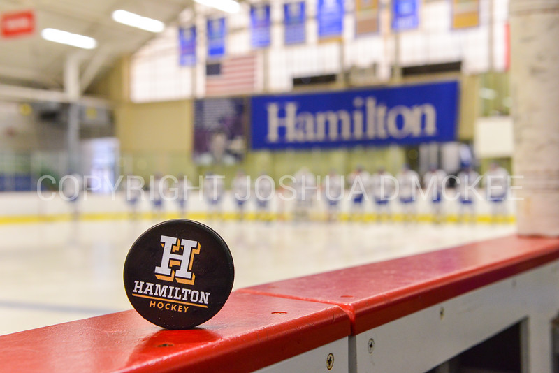 Puck<br /> <br /> 2/24/18 4:00:07 PM Men's Hockey: NESCAC Championship Quarterfinal-- Wesleyan University v Hamilton College at Russell Sage Rink, Hamilton College, Clinton, NY<br /> <br /> Final:  Wesleyan 2   Hamilton 1<br /> <br /> Photo by Josh McKee