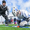 Hamilton College head coach Scott Barnard, Hamilton College midfielder Eric Zurmuehle (20)<br /> <br /> 3/4/18 12:41:11 PM Men's Lacrosse: Tufts University v Hamilton College at Withiam Field, Hamilton College, Clinton, NY<br /> <br /> Photo by Josh McKee