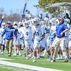 Team, Celebration<br /> <br /> 4/21/18 2:26:36 PM Men's Lacrosse: #5 Wesleyan University v Hamilton College at Steuben Field, Hamilton College, Clinton, NY<br /> <br /> Final:  #5 Wesleyan 8   Hamilton 7 <br /> <br /> Photo by Josh McKee