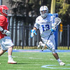 Hamilton College midfielder James Sanderson (13)<br /> <br /> 4/21/18 1:38:07 PM Men's Lacrosse: #5 Wesleyan University v Hamilton College at Steuben Field, Hamilton College, Clinton, NY<br /> <br /> Final:  #5 Wesleyan 8   Hamilton 7 <br /> <br /> Photo by Josh McKee