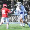 Hamilton College defender Matt Greene (10)<br /> <br /> 4/21/18 2:47:39 PM Men's Lacrosse: #5 Wesleyan University v Hamilton College at Steuben Field, Hamilton College, Clinton, NY<br /> <br /> Final:  #5 Wesleyan 8   Hamilton 7 <br /> <br /> Photo by Josh McKee