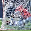 Hamilton College defender John Ennis (42), GOAL<br /> <br /> 4/21/18 2:27:34 PM Men's Lacrosse: #5 Wesleyan University v Hamilton College at Steuben Field, Hamilton College, Clinton, NY<br /> <br /> Final:  #5 Wesleyan 8   Hamilton 7 <br /> <br /> Photo by Josh McKee
