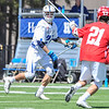 Hamilton College midfielder Owen McCarthy (21)<br /> <br /> 4/21/18 1:35:04 PM Men's Lacrosse: #5 Wesleyan University v Hamilton College at Steuben Field, Hamilton College, Clinton, NY<br /> <br /> Final:  #5 Wesleyan 8   Hamilton 7 <br /> <br /> Photo by Josh McKee