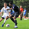 Hamilton College defender Quinn O'Malley (21)<br /> <br /> 10/7/17 3:59:58 PM Men's Soccer: Amherst College v Hamilton College, at Love Field, Hamilton College, Clinton, NY<br /> <br /> Final:  Amherst 0  Hamilton 0  2OT<br /> <br /> Photo by Josh McKee