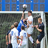 Hamilton College goalkeeper Linds Cadwell (0), Hamilton College M Eli Morris (13)<br /> <br /> 10/7/17 1:57:23 PM Men's Soccer: Amherst College v Hamilton College, at Love Field, Hamilton College, Clinton, NY<br /> <br /> Final:  Amherst 0  Hamilton 0  2OT<br /> <br /> Photo by Josh McKee