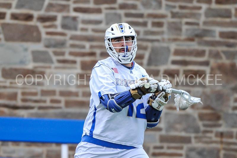 Hamilton College attacker Adam Markhoff (12)<br /> <br /> 4/4/18 4:38:05 PM Men's Lacrosse: Middlebury College v Hamilton College at Steuben Field, Hamilton College, Clinton, NY<br /> <br /> Photo by Josh McKee
