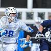 Hamilton College midfielder Matt Saltzman (28)<br /> <br /> 4/4/18 4:13:02 PM Men's Lacrosse: Middlebury College v Hamilton College at Steuben Field, Hamilton College, Clinton, NY<br /> <br /> Photo by Josh McKee