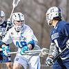 Hamilton College defender Noah Huizenga (48)<br /> <br /> 4/4/18 4:02:35 PM Men's Lacrosse: Middlebury College v Hamilton College at Steuben Field, Hamilton College, Clinton, NY<br /> <br /> Photo by Josh McKee