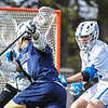 Hamilton College defender Noah Huizenga (48)<br /> <br /> 4/4/18 4:02:36 PM Men's Lacrosse: Middlebury College v Hamilton College at Steuben Field, Hamilton College, Clinton, NY<br /> <br /> Photo by Josh McKee
