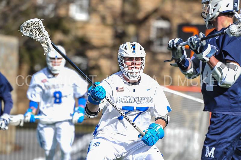 Hamilton College long stick midfielder Quinn Morris (77)<br /> <br /> 4/4/18 3:41:34 PM Men's Lacrosse: Middlebury College v Hamilton College at Steuben Field, Hamilton College, Clinton, NY<br /> <br /> Photo by Josh McKee