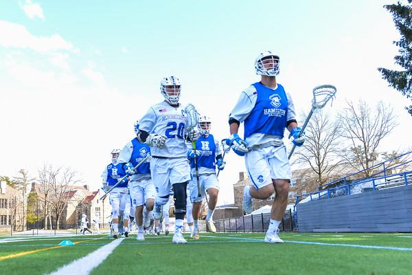 Team<br /> <br /> 4/4/18 2:53:41 PM Men's Lacrosse: Middlebury College v Hamilton College at Steuben Field, Hamilton College, Clinton, NY<br /> <br /> Photo by Josh McKee