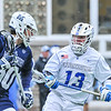 Hamilton College midfielder James Sanderson (13)<br /> <br /> 4/4/18 4:52:13 PM Men's Lacrosse: Middlebury College v Hamilton College at Steuben Field, Hamilton College, Clinton, NY<br /> <br /> Photo by Josh McKee