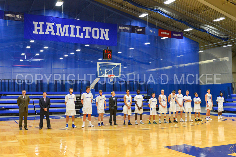 Team<br /> <br /> 11/28/17 7:00:06 PM Men's Basketball: SUNY New Paltz v Hamilton College at Margaret Bundy Scott Field House, Hamilton College, Clinton, NY<br /> <br /> Final:  SUNY New Paltz 66   Hamilton 104 <br /> <br /> Photo by Josh McKee