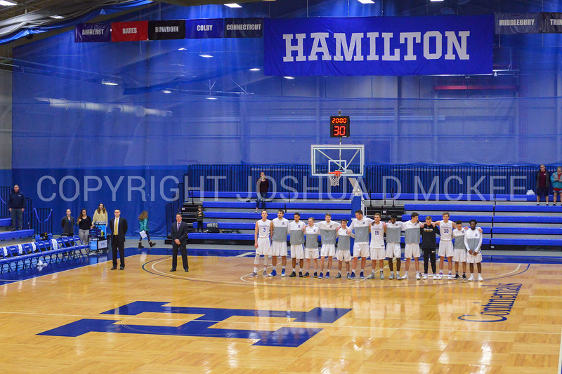 Team<br /> <br /> 2/17/18 2:59:25 PM Men's Basketball- NESCAC Championship Quarterfinal:  Tufts University v #15 Hamilton College at Margaret Bundy Scott Field House, Hamilton College, Clinton, NY<br /> <br /> Final: Tufts 82  #15 Hamilton 91<br /> <br /> Photo by Josh McKee