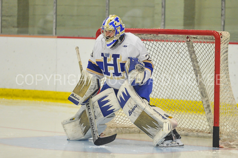 Hamilton College goaltender Evan Buitenhuis (29)<br /> <br /> 12/2/17 6:26:59 PM Men's Hockey:  Trinity College v Hamilton College at Russell Sage Rink, Hamilton College, Clinton, NY<br /> <br /> FINAL:  Trinity 1  Hamilton 0<br /> <br /> Photo by Josh McKee