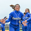 Hamilton College outfielder Emily Fraser (4)<br /> <br /> 3/30/18 3:51:45 PM Softball: #14 Williams College v. Hamilton College, at Loop Road Softball/Baseball Complex, Hamilton College, Clinton, NY<br /> <br /> Final: #14 Williams 2   Hamilton 4<br /> <br /> Photo by Josh McKee