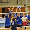 Hamilton College middle blocker Dorothy Poucher (17), Hamilton College opposite hitter Giuliana Rankin (11)<br /> <br /> 9/15/17 8:08:37 PM Women's Volleyball:  Connecticut College vs Hamilton College, at Margaret Bundy Scott Field House, Hamilton College, Clinton, NY<br /> <br /> Final:  Conn 1  Hamilton 3<br /> <br /> Photo by Josh McKee