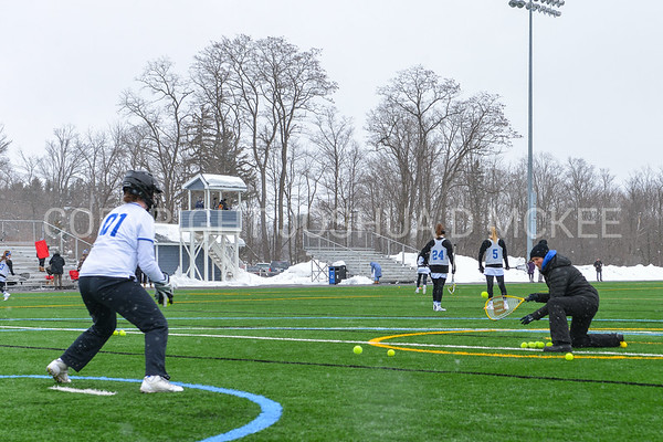 Hamilton College head coach Patty Kloidt, Hamilton College GK Hannah Burrall (1)<br /> <br /> 3/10/18 11:29:50 AM Women's Lacrosse:  Colby College v Hamilton College at Withiam Field, Hamilton College, Clinton, NY<br /> <br /> Final: Colby  9   Hamilton 11<br /> <br /> Photo by Josh McKee