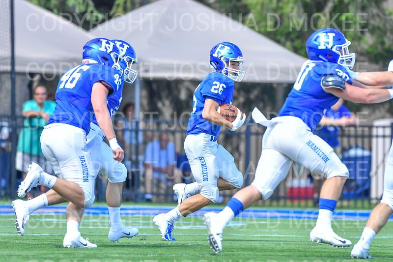 Hamilton College wide receiver Sam Robinson (26)<br /> <br /> 9/15/18 1:37:21 PM Football:  Tufts University v Hamilton College at Steuben Field, Hamilton College, Clinton, NY<br /> <br /> Final:  Tufts 29  Hamilton 2<br /> <br /> Photo by Josh McKee