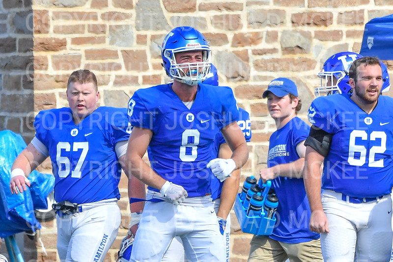 Hamilton College wide receiver Ryan Phelps (8)<br /> <br /> 9/15/18 2:26:48 PM Football:  Tufts University v Hamilton College at Steuben Field, Hamilton College, Clinton, NY<br /> <br /> Final:  Tufts 29  Hamilton 2<br /> <br /> Photo by Josh McKee