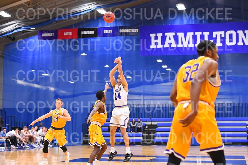 Hamilton College guard Kena Gilmour (24), 1,000th point basket<br /> <br /> 12/8/18 4:28:28 PM Men's Basketball: Elmira College v #4 Hamilton College at Margaret Bundy Scott Field House, Hamilton College, Clinton, NY<br /> <br /> Final: Elmira 67  #4 Hamilton 98<br /> <br /> Photo by Josh McKee